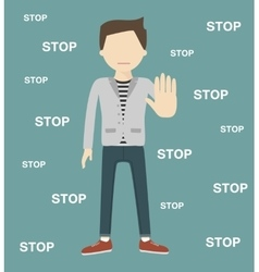 The Man Gestures a Stop vector