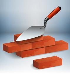 Trowel and bricks vector