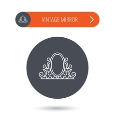 Vintage mirror icon Retro decoration sign vector image
