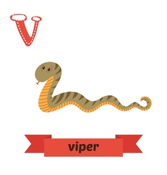 Viper v letter cute children animal alphabet in vector
