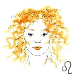 Watercolor Leo girl vector