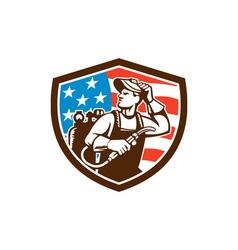 Welder Looking Side USA Flag Crest Retro vector