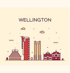 Wellington city skyline new zealand linear vector