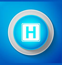 white hospital sign isolated on blue background vector image