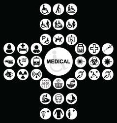 White Medical and health care Icon collection vector