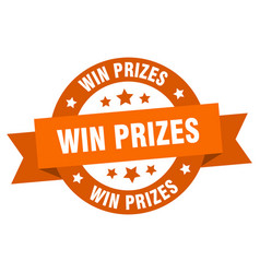 win prizes ribbon win prizes round orange sign vector image
