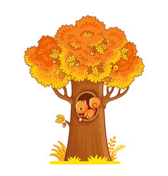 windy with an autumn yellow tree and vector image