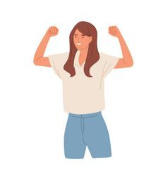 Winning gesture happy confident woman vector