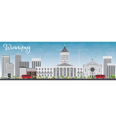 Winnipeg Skyline with Gray Buildings vector