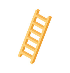 Wooden ladder isometric icon vector
