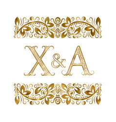 X and a vintage initials logo symbol letters vector