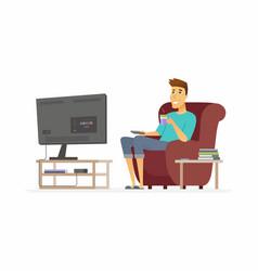 Young man watching tv - cartoon people character vector