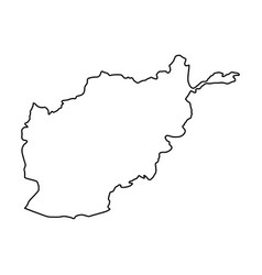 afghanistan map of black contour curves on white vector image vector image