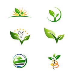 agriculture farm plant grow logo set vector image vector image