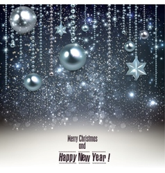 Elegant christmas background with blue baubles and vector image vector image