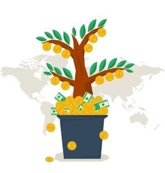 flat money tree vector image