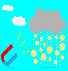 Magnet rain money vector image vector image