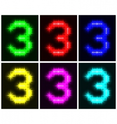 number 3 symbols vector image vector image