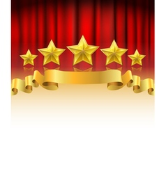 red curtain with golden stars vector image vector image