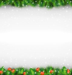 Shiny green pine branches like frame with holly vector image vector image