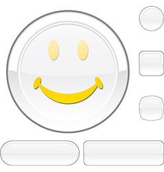 Smiley white button vector image