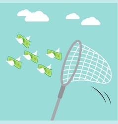 sweep net catching flying money vector image vector image