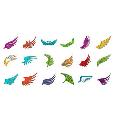 wings icon set color outline style vector image