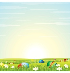 Easter Background Eggs in Green Grass vector image vector image