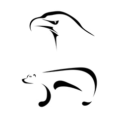 Silhouettes of an eagle and a bear vector image vector image