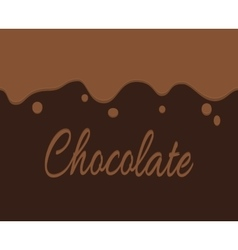 trickling dark chocolate and label vector image