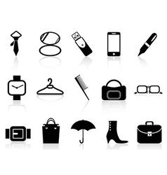 black accessories icons set vector image