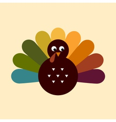 Cute retro Thanksgiving Turkey isolated on beige vector image vector image