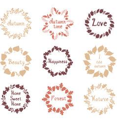 hand drawn set of autumn mandalas with vector image vector image
