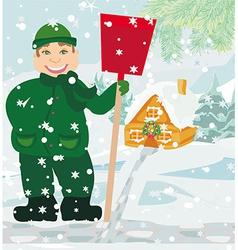 Man shoveling snow vector image