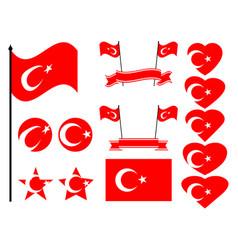 turkey flag set collection of symbols flag vector image