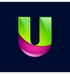 U letter green and pink logo design template vector image vector image