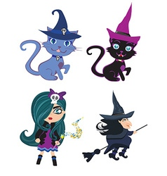 witches and cats - set vector image vector image