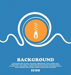Zipper Icon sign Blue and white abstract vector image