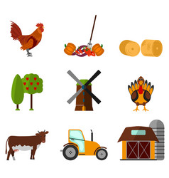 cartoon flat agriculture icon and sign vector image