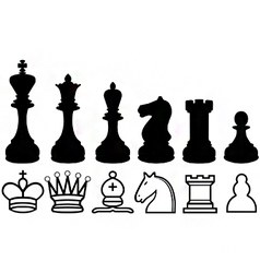 chess piece silhouettes and symbols vector image vector image