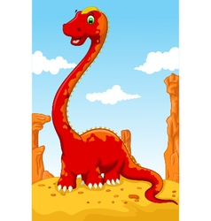cute dinosaur cartoon with desert landscape backgr vector image vector image