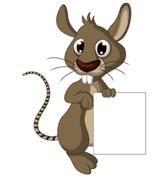 cute mouse cartoon with blank sign vector image vector image