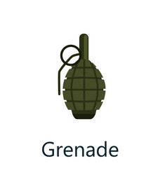 Green grenade small bomb typically thrown by hand vector