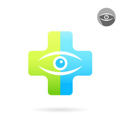 human eye on medical multicolored plate vector image vector image