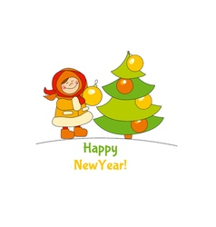 Little girl with christmas tree adorable kids in vector