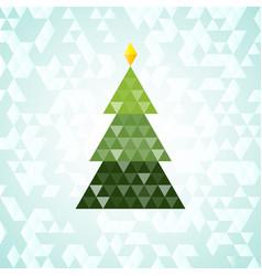 merry christmas green tree triangular pattern vector image vector image