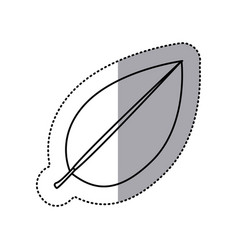 monochrome contour sticker of leaf with branch vector image