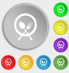 plate with cutlery icon sign Symbol on eight flat vector image vector image