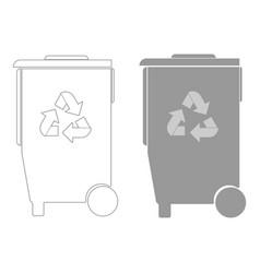 Refuse bin with arrows utilization the grey color vector