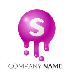 s letter splash logo purple dots and bubbles vector image